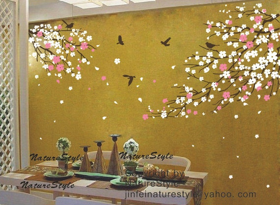 FREE SHIPPING cherry blossom wall decal with flying birds