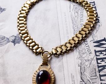 Antique Victorian Egyptian Revival Garnet Scarab Necklace, c1890
