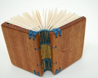 handmade journal - mini mahogany wood book Stocking Stuffer