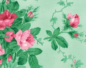 Free Spirit - Peppermint Rose - Holiday Garden - Pine by Verna Mosquera - PWVM175.OPINE - 100% cotton fabric - Fabric by the yard(s)