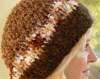 Brown winter hat in beautiful handcrafted crochet, women's fashion with style, women's winter hat in shades of brown, creative hats