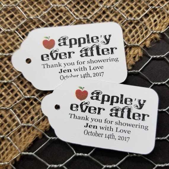 Appley Ever After Thank you for Showering with Love MEDIUM Favor Tag Choose your quantity Happily ever after