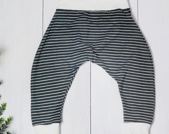 Olive stripe baby leggings, gift for baby, harem pants, cloth diaper pants, christmas baby, everyday baby outfit, gender neutral toddler