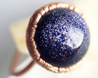 Galaxy Ring | Copper Stacking Ring | Blue Goldstone Ring | Electroformed Ring | Blue Sandstone Ring | Copper Ring | Gift for Women |