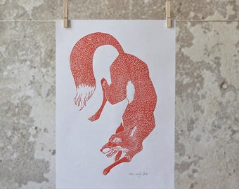Red fox Linocut Print