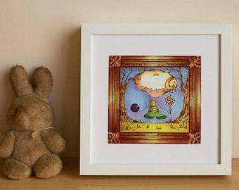 "Illustration, children Illustration, Wall Art, digital print, little dragon ""Viktor small news"""