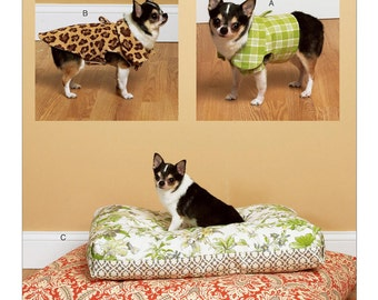 Sewing Pattern for Dog Vest, Coat, and Bed In 2 Sizes, Butterick Craft Pattern 6303, Waverly Pattern, Dog Bed, Pet Coat