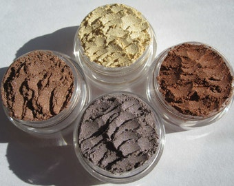 4 Piece Set Vegan Mineral Eyeshadow Makeup Gift Set   Loose Pigments   Three Brown Eye Shadows Plus one Yellow Top Seller