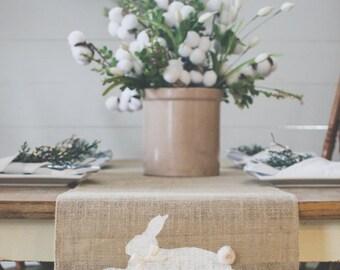 Burlap Table Runner, Table Runner, Spring Table Runner, Rabbit, Bunny, Easter, Farmhouse Table Runner * free Shipping*