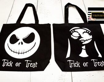 Sally or Jack nightmare before Christmas tote bag/ trick or treat bag