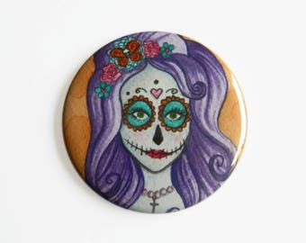 Pocket Mirror - Day of the Dead - Día de Muertos Sugar Skull Candy Purple Death Life Gothic Flowers Mexican Pretty Beauty Goth
