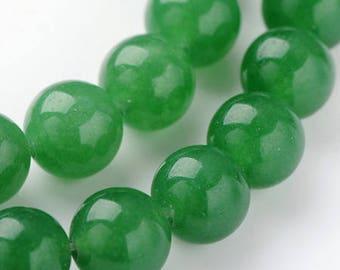 Pearl green jade, 8mm, set of 10
