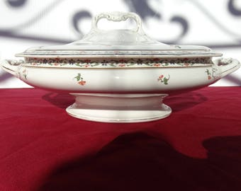 """John Maddock & Sons England 12"""" Handled Oval Covered Vegetable Bowl MAD6 Pattern Footed"""