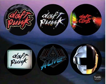 Daft Punk Album Covers 2-1/4 in Pinback Buttons