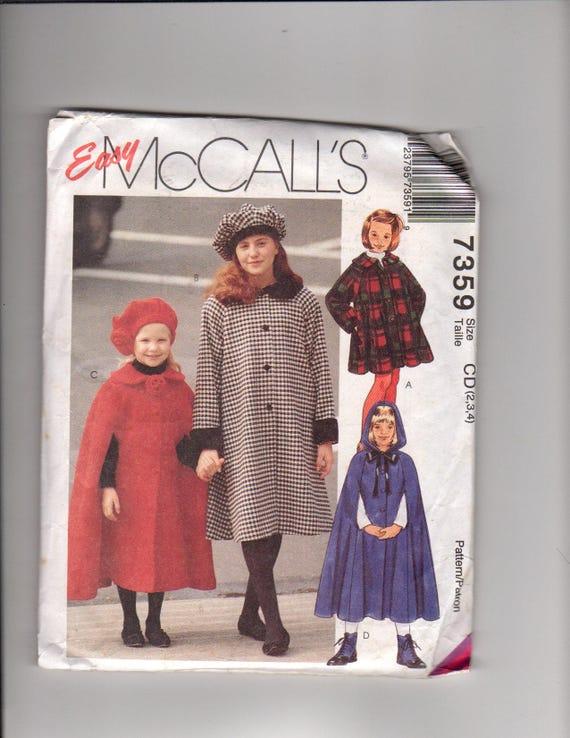McCall\'s 7359- kids sewing pattern: girls\' lined coats, kids cape ...