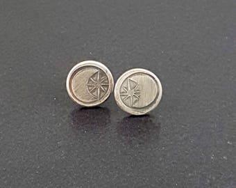 Moon and Stars Stud Earrings, post earrings, sterling silver, michele grady, halloween, moon star jewelry, moon earrings, star earrings