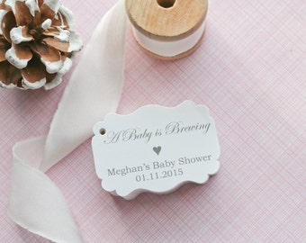 Baby Shower Gift Tags-Baby Shower Paper Goods-Thank You Tags- Coffee Favors-Tea Favors-Customized Favor Tags-Gift Tags-Set of 40