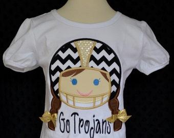 Personalized Football Helmet Girl Applique Shirt or Bodysuit