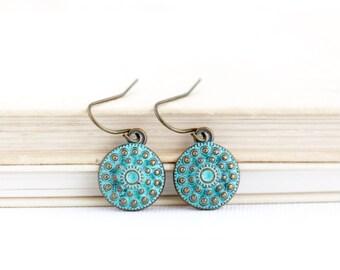 Mother Gift - Boho Earrings - Ethnic Earrings - Tribal Earrings - Small Green Earrings - Patina Jewelry - Brass Earrings - Rustic Earrings