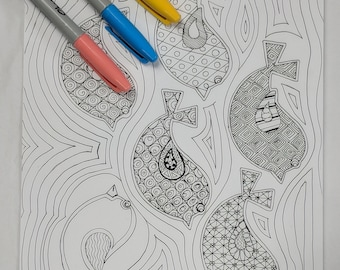 Against the Flow Coloring Page Digital Download Zentangle ZIA