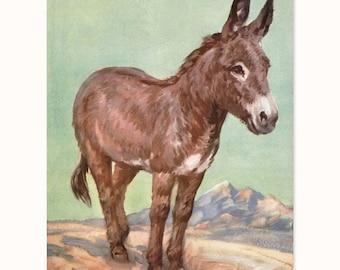 "Donkey Art, Burro Print (Southwestern Decor, Western Wall Art, Home Office, Boys Room, Girls Nursery) Farm Animals Print -- ""Loyal Friend"""