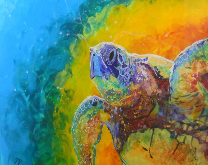Hawaiian Sea Turtle Honu 6 8x8 Ocean Art Print from Kauai Hawaii by Marionette blue teal rainbow purple turquoise