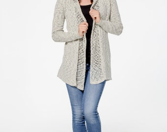 Organic Cotton Blend Lace Hooded Cardigan | Hooded Organic Cotton Cardigan