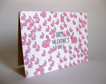 Valentine's Day Bunnies Card - Handmade and printed from original ink and gouache illustration