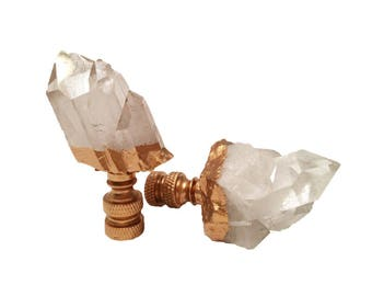 Custom, Quartz Crystal & Gold Gilt Lamp Finials, Pair