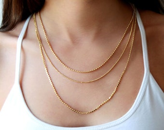 Gold multi strand chain necklace / gold layered chain necklace / layered gold necklace / birthday gift for her