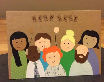 Hand crafted good luck/ leaving work card