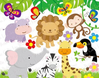 Jungle Animals Clipart , Baby Jungle Animals Clipart, / Safari Jungle Animal Clipart , Cute Animals ( A009 ) / INSTANT DOWNLOAD