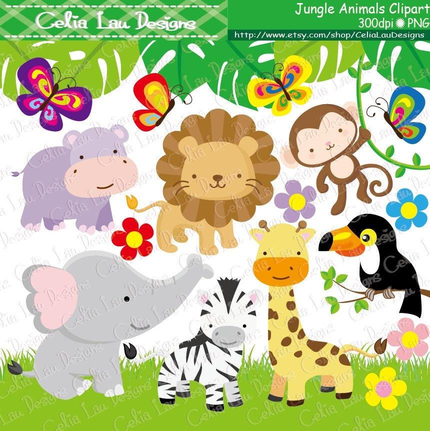 jungle animals clipart baby jungle animals clipart safari rh etsy com baby girl jungle animals clipart baby jungle animals clipart scriptures