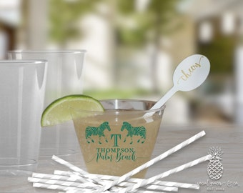 Clear Plastic Cups | Personalized Cup | Zebra Monogram Cups