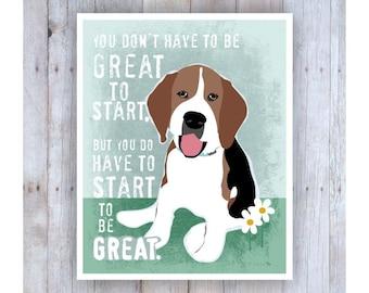 Classroom Art, Childrens Wall Art, Beagle, Print, Beagle Puppy, Beagle Art, Inspirational Dog Art, Print for Kids, Motivational Art