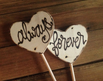 always forever cake toppers lettering wood rustic chic calligraphy wedding engagement modernscript photo props anniversary