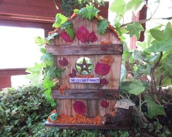 Fairy Garden Miniature Witches Only Door OOAK handmade house spells/magic/book of shadows