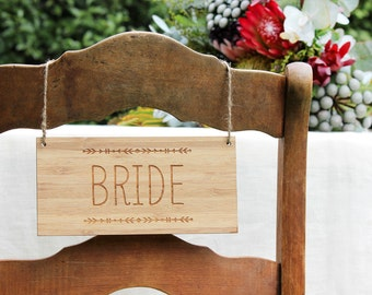 SALE Bride & Groom Bamboo Wood Wedding chair signs - tribal - laser cut etched wood - bohemian wedding