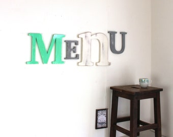 Giant Word Menu Mint, gray, white - mylittledecor - letters - Bohemian - giant letter - kitchen decor - industrial