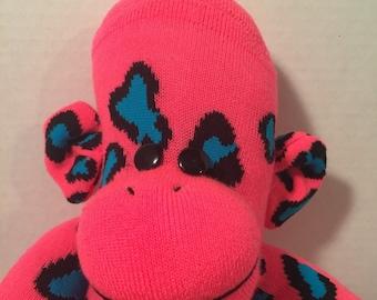 Long Leg Hot Pink Leopard Spots Sock Monkey