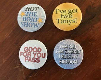 BroadwayCon 2018 Button or Magnet Pack - 4 Pinback Buttons or Magnets