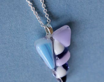 Fused Glass Triangle Pendant Necklace