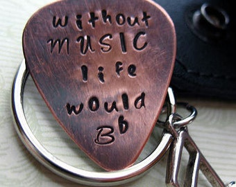 Hand Stamped Guitar Pick Keychain, Without Music Life Would B Flat - Black Leather Case - Copper Guitar Pick Key Chain, Music Lover Gift