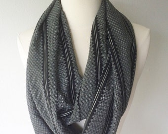 Black & White Tribal Print Rayon Infinity Scarf - Handmade - For Her, Summer Fashion, Mother's Day, Summer