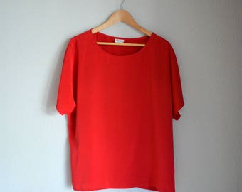 Vintage Red Minimalist T-Shirt/Short Sleeve Blouse
