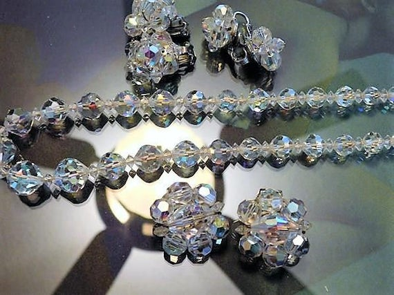 Crystal Necklace / Clip On Earrings / Demi Parure Set / Mid Century