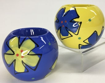 Vintage Berryware Berry Silverman Yellow Blue Floral Ball Ceramic Candlestick Candle Holders
