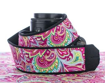 dSLR Camera Strap, SLR, Mirrorless, Pocket, fits Canon, Nikon, Sony, Pentax cameras,  Pink Paisley, 057
