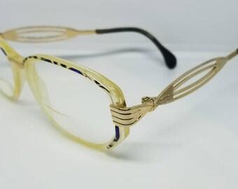 Vintage Cazal Gold Blue Eyeglasses Frames