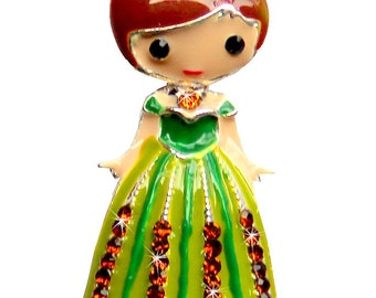 1.25 inches ONE Character Enamel Flat back Center - Anna